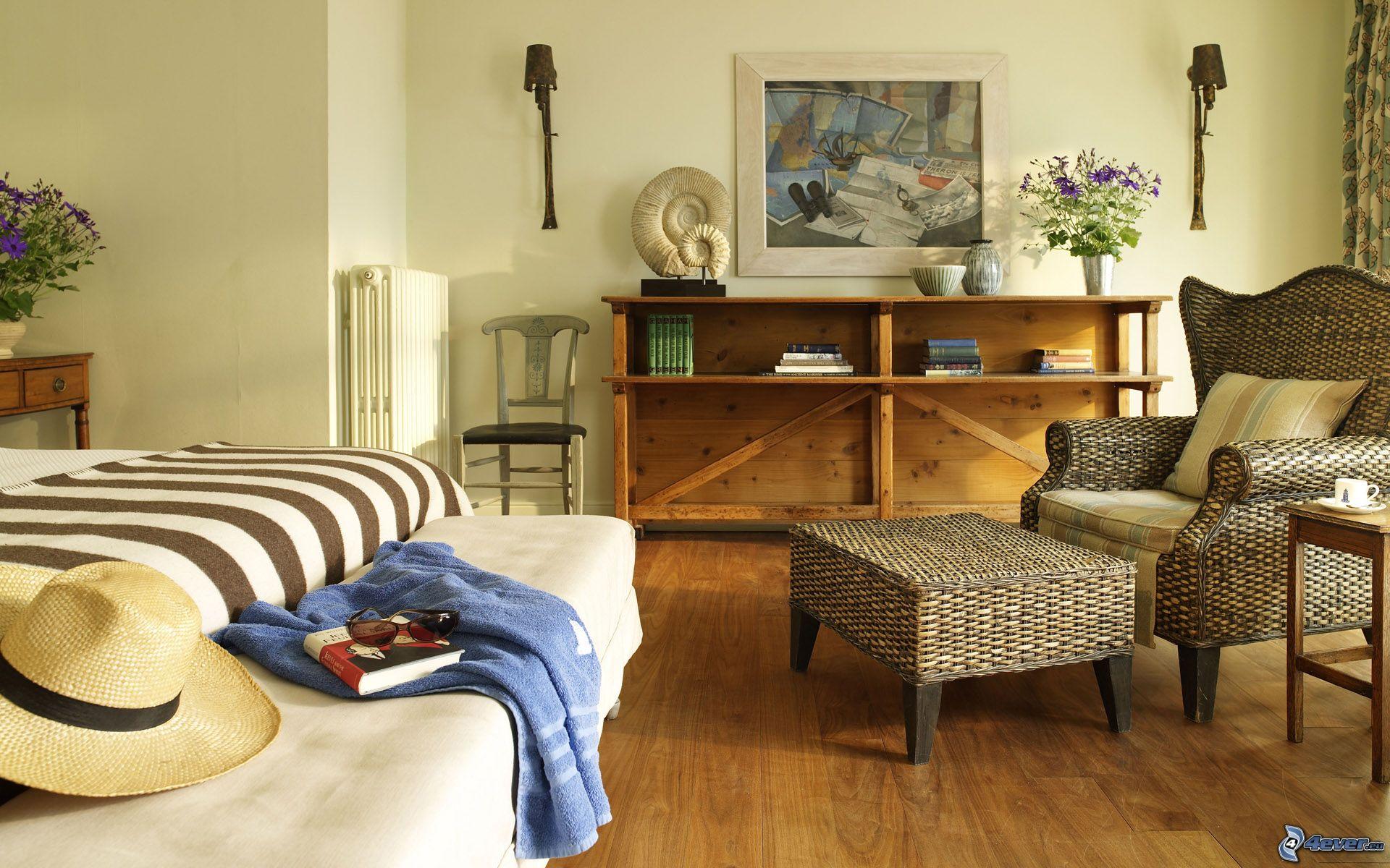 Schlafzimmer Stuhl Doppelbett Regale Bild