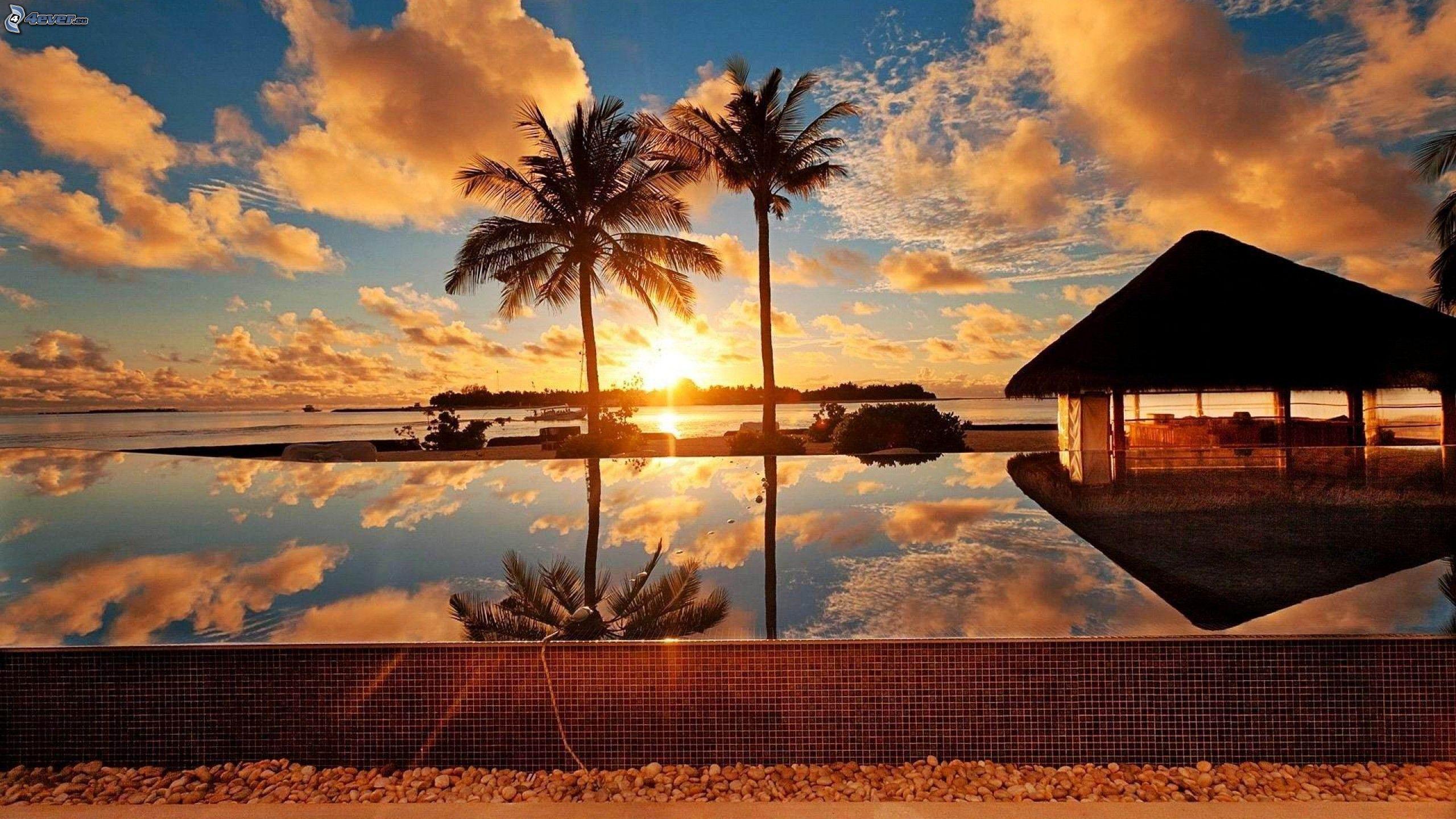 Haus Am Meer Bei Sonnenuntergang