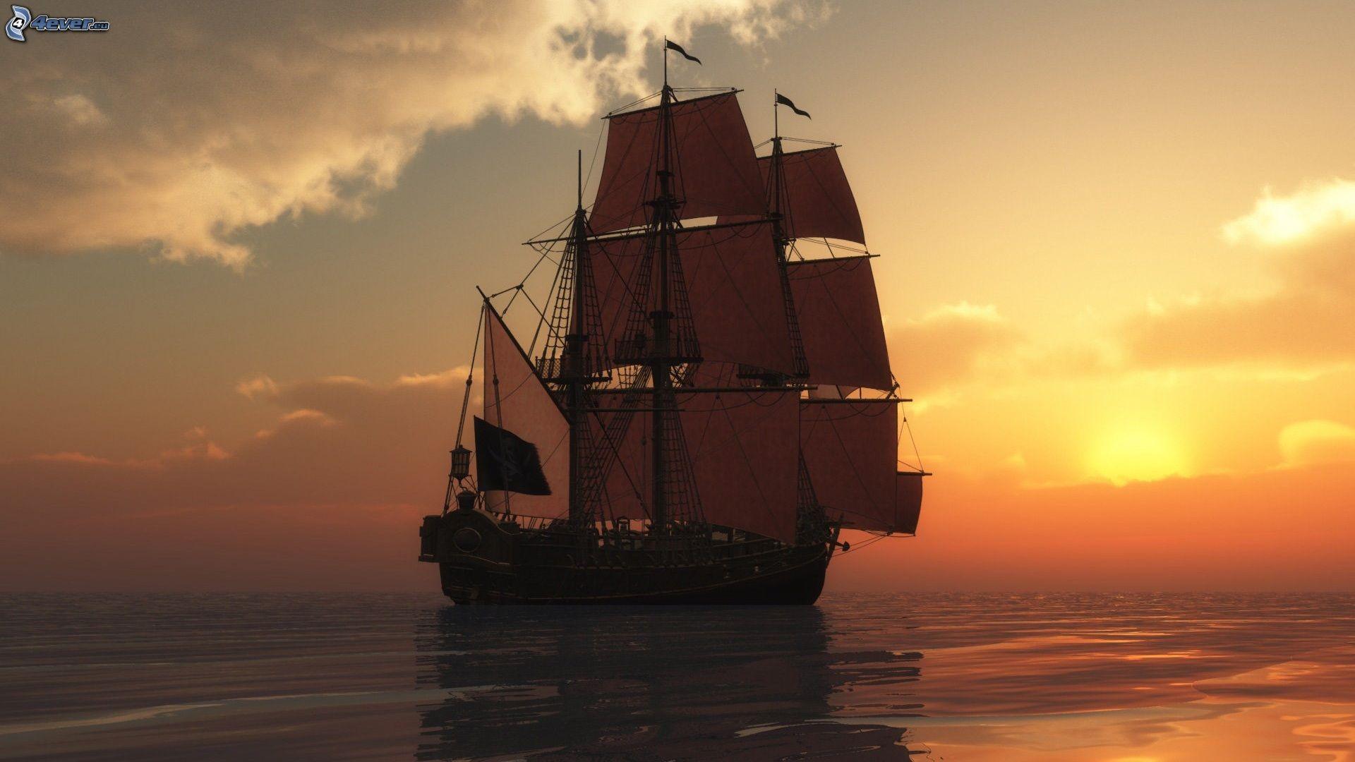 Segelschiffe auf dem meer sonnenuntergang  Segelschiff