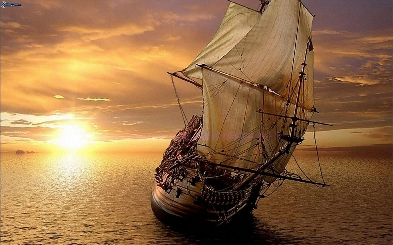 Segelschiffe Auf Dem Meer Sonnenuntergang