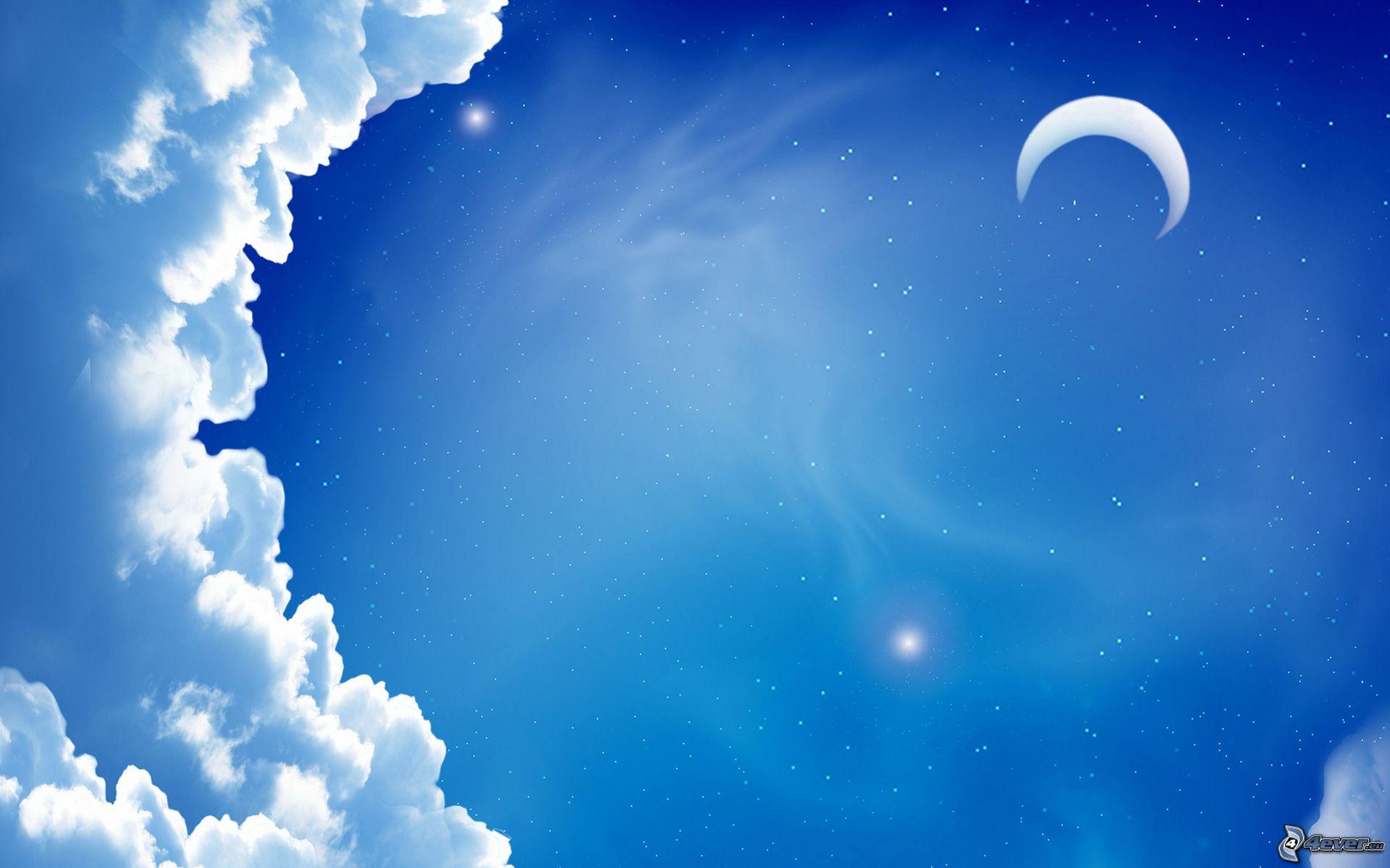 Mond Und Sterne Wallpaper Bild Downloaden