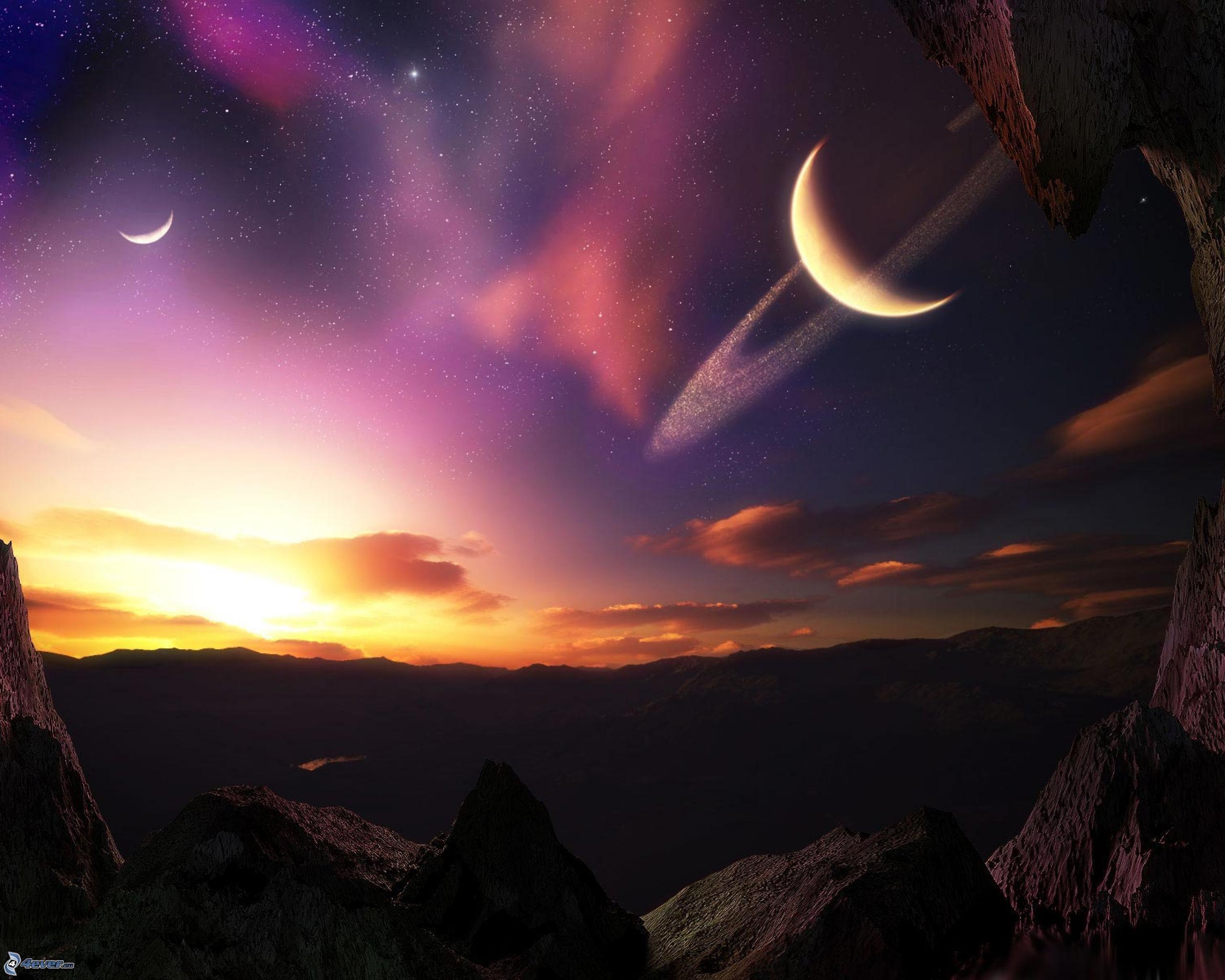 Mond Und Sterne Wallpaper Sci-fi Landschaft Mond