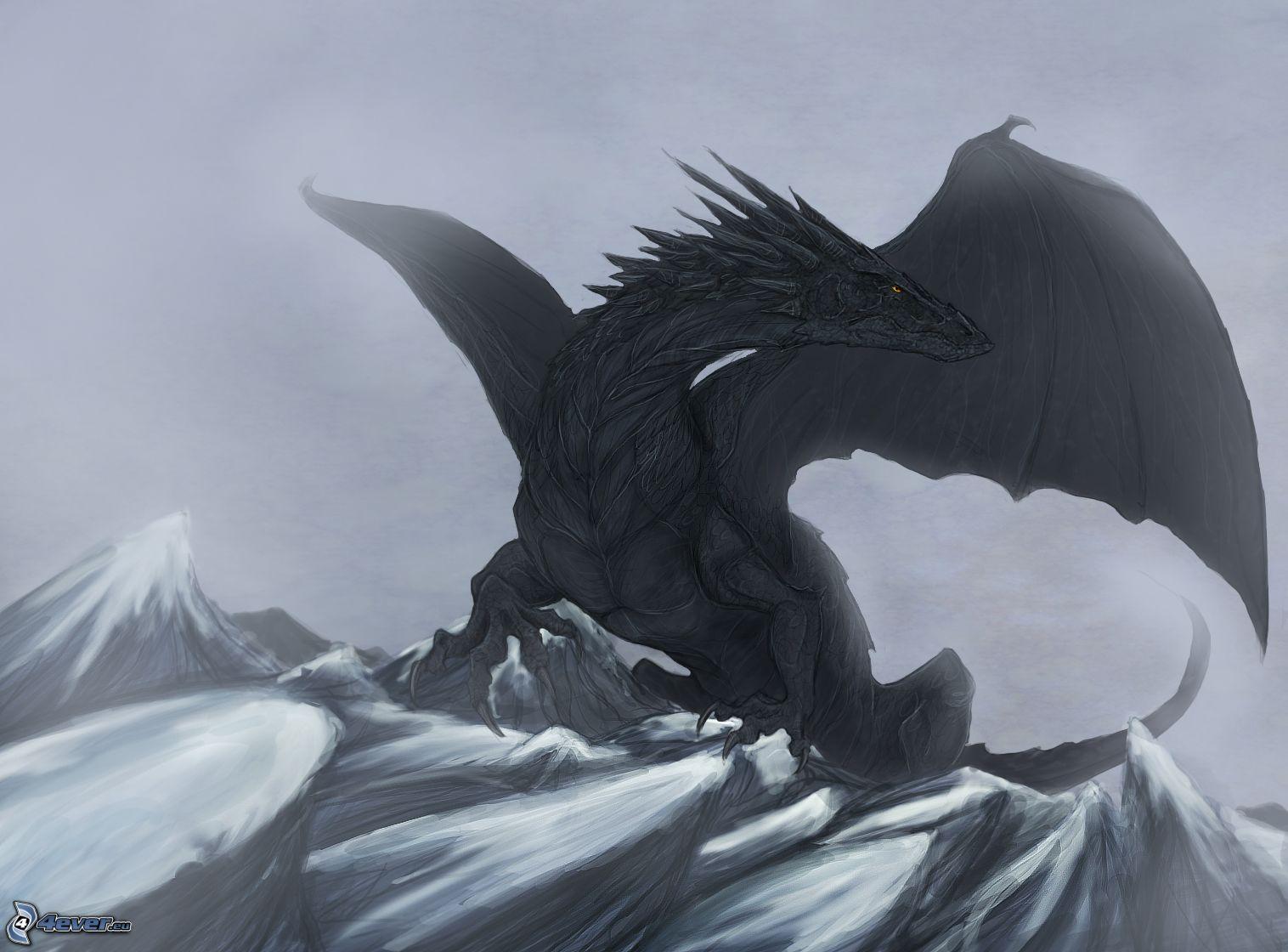 Rotaugiger schwarzer drache